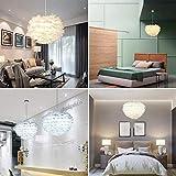 Lámpara de pluma blanca Lámpara de techo Lámpara de araña Pantalla de lámpara romántica Pantalla de lámpara para sala de estar Comedor y dormitorio 30 cm