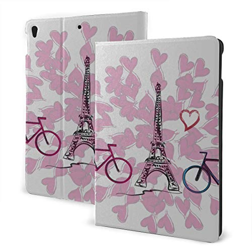 JIUCHUAN Kids Cover For Ipad 2019 Ipad Air3/2017 Ipad Pro 10.5 Inch Case/2019 Ipad 7th 10.2 Inch Case Paris French Romantic Love Ipad Children Protective Case Auto Wake/sleep