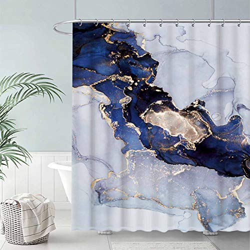 """Seasonwood Navy Marble Fabric Shower Curtain Set with 12 Hooks Blue and Gold Abstract Ink Art Texture Pattern Bathroom Bathtubs Decor Easy Care Waterproof Washable Durable Polyester 72""""x72"""""""