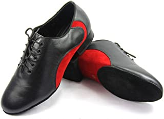 CRC Men's Stylish Round Toe Lace Up Black/White Color Block Leather Salsa Tango Ballroom Morden Latin Jazz Rumba Professional Dance Shoes