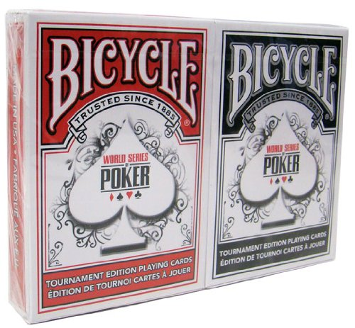 Brybelly Bicycle WSOP Plastic Coated Playing Cards - 2 Decks Poker Size Regular Index Red/Black