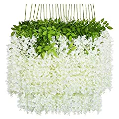 """✔Package Included: 24x Artificial Wisteria Vines. Size of each fake flower vine: About 3.6 Feet in length per artificial wisteria with 3 branches,each string is 21.65"""",more flower in each string, extra thick and beautiful. ✔Perfect For: The string fl..."""