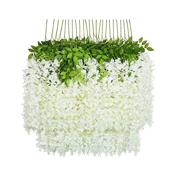 U'Artlines 24 piezas / orden 110cm por vid Flores Artificiales Falsa Wisteria Vine Flor de Seda Garland para Home Garden…