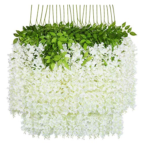 U'Artlines 24 Pack 3.6 Feet/Piece Artificial Fake Wisteria Vine Ratta Hanging Garland Silk Flowers Home Party Wedding Decor (24, White)