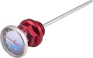 Motorrad Ölmessstab Aluminiumlegierung Ölstandsanzeige Ölmessstab Temperatur mit Thermometer für 125cc Motorrad(rot)