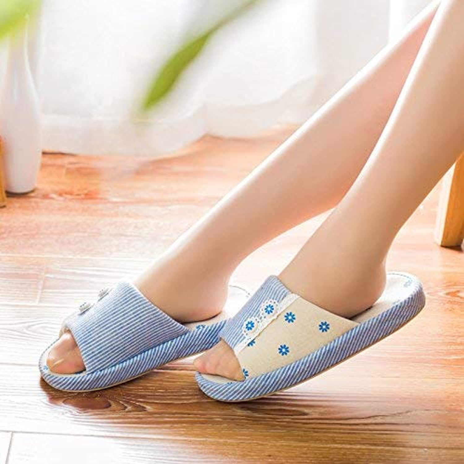 Lady Slippers Women 's Home Cotton Slippers Indoor Keep Warm Casual Slippers bluee Mixed color Personality Quality for Women Elegant