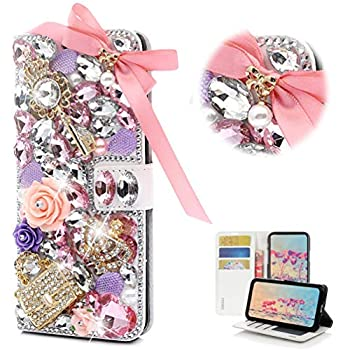 STENES Bling Wallet Case Compatible with iPhone 5C - STYLISH - 3D Handmade Crystal Bowknot Key Rose Bag Crown Magnetic Wallet Design Leather Cover Case - Pink