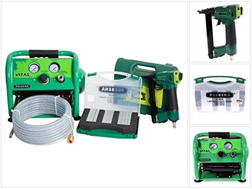 Prebena Komplettpaket 1XR-A16 Druckluftnagler + Druckluftschlauch 10m + Kompressor VITAS 45 + A-BOX 9.000 Heftklammern