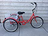 Komodo Cycling 24 inch, 6-Speed Adult Tricycle #7001 - Red and White