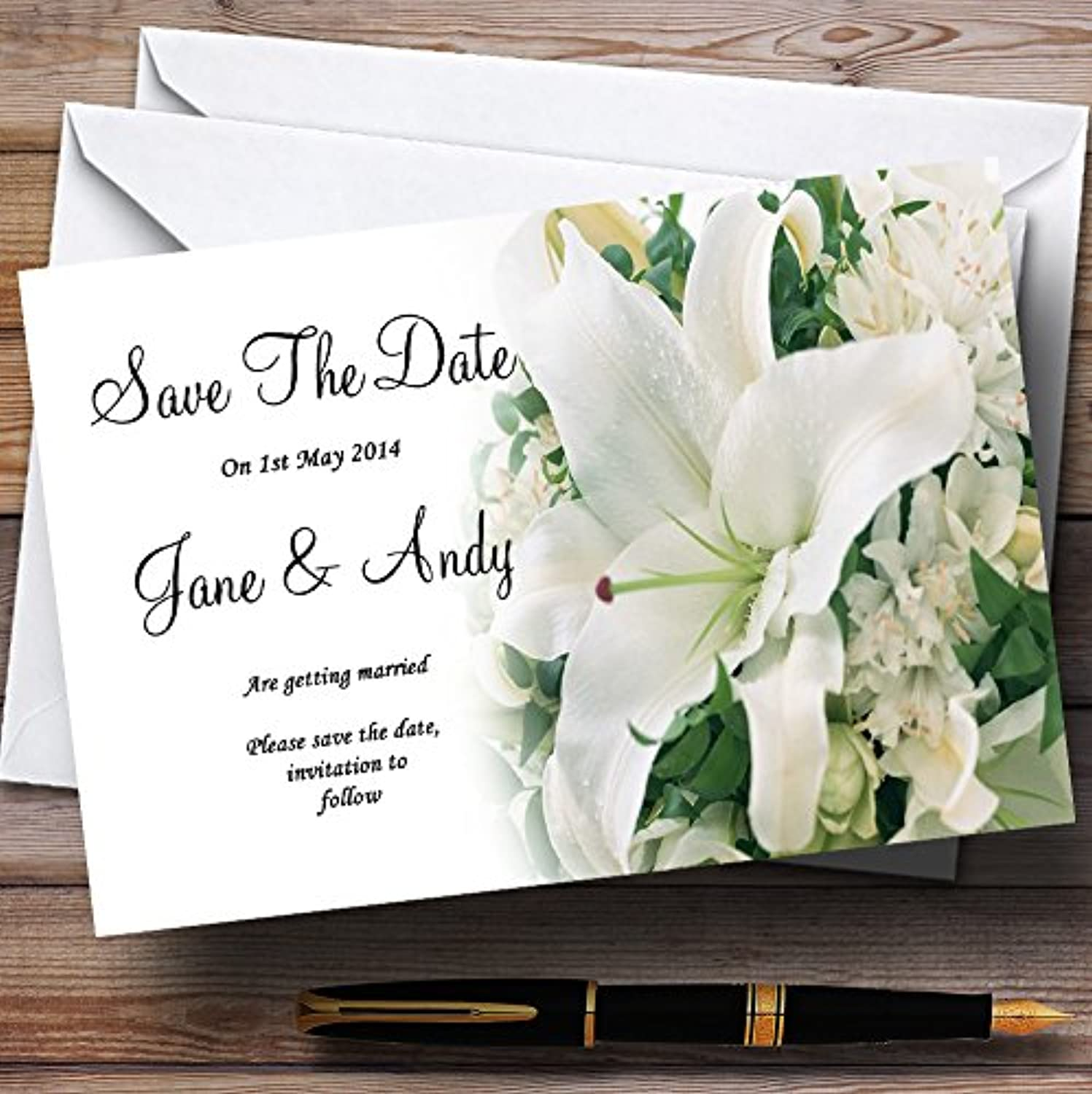 Classy White Lily Pretty Personalised Wedding Stationery Save The Date Cards