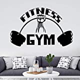 ASFGA Running Fitness Decal Fitness Poster Vinilo Muscle Wall Decal decoración Mural Dumbbell Sticker Club Atleta calcomanía Gym Fancy Bedroom Wings Car Sticker 58x90cm