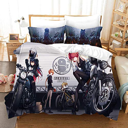 3D Print Duvet Cover -Cartoon Locomotive Beauty Girl - Set Double Size Bedding Set Microfiber Polyester Comforter Cover Print with 2 Pillowcases 3 Piece Set 53.15 X 78.74 inch