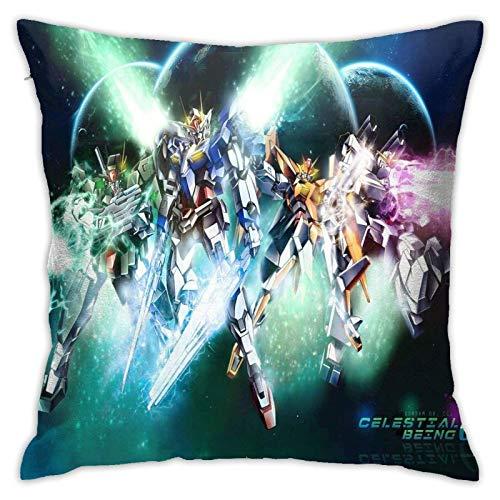songyang Cómoda y suave decoración casera Gundam almohada, sofá almohada, oficina, funda de almohada de coche, funda de almohada de impresión de doble cara