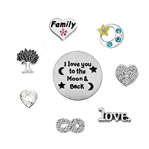 ReisJewelry Love Mom Family Floating Charms Set for Glass Living Memory Locket Necklace&Bracelet (I Love You to The Moon and Back)