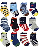 LAISOR Anti Slip Cotton Crew Socks with Grips For Kids Toddlers Baby Boys (12 Pairs/F101102, 6-12 Months)