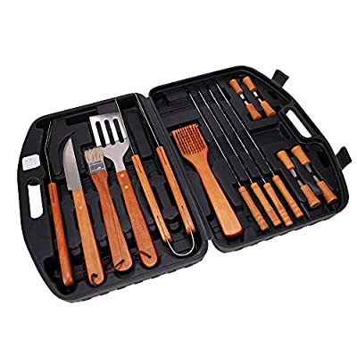 Xena Barbecue Utensils Kit BBQ Tools Set Case Stainless Steel Grill Cooking Outdoor Grilling Utensils Professional Grilling Accessories Bar BQ Brush Spatula Tongs (18 Piece)