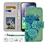 Galaxy S5 Wallet Case, Galaxy S5 Case, MagicSky Premium PU Leather Flip Folio Case Cover with Wrist Strap,Card Holder,Cash Pocket,Kickstand for Samsung Galaxy S5(Green Peacock)