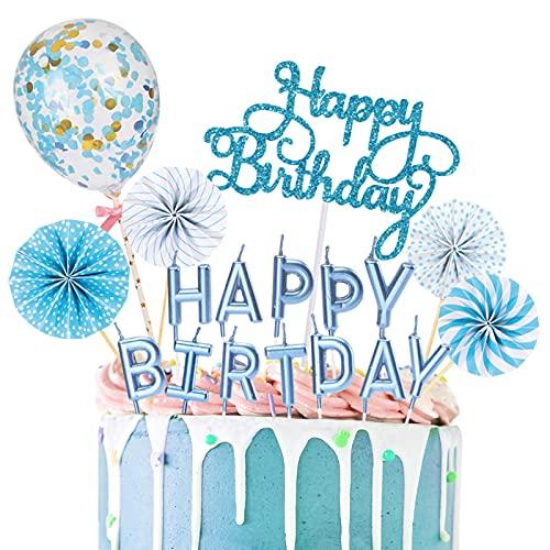 YUQIN Topper per Torte Compleanno,Decorazione per Torte Compleanno,Compleanno Cake Topper,Compleanno Torta Topper,Happy Birthday Cake Topper(Blu)