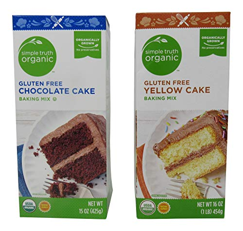 Simple Truth Organic Gluten Free Non-GMO Cake Mix Bundle: One Box of Chocolate Cake (15 Oz) and One Box of Yellow Cake (16 Oz)