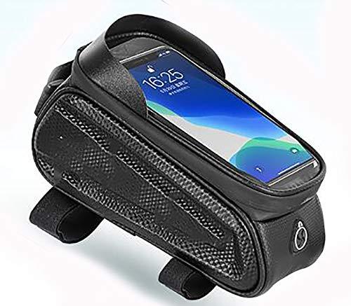 Bolsa de Cuadro de Bicicleta MTB Montaña Carretera con Pantalla Táctil para Teléfono Móvil 6,5 Pulgadas para iPhone 11 XS MAX XR Bolsa para cuadro de bicicleta-Black eva upper tube bag (large) 23.5x10