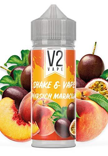 V2 Vape Shake and Vape Pfirsich Maracuja | 20ml hochdosiertes Aroma-Konzentrat zum mischen mit Base für E-Liquid | Longfill, zum direkt dampfen, keine Reifezeit | 0mg nikotinfrei