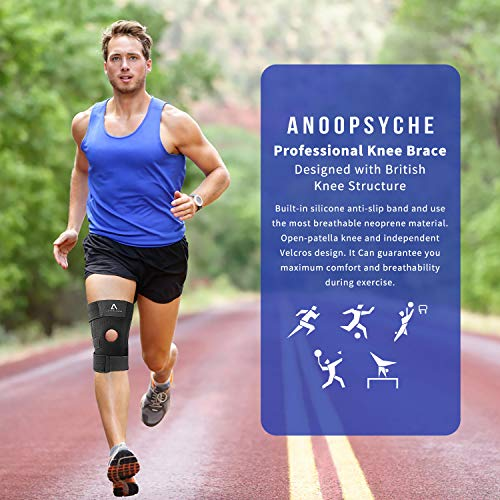 Anoopsyche Knee Support for Men Women, Adjustable Open-Patella Neoprene Knee Brace with Anti-Slip Strips - For Arthritis, Joint Pain, Meniscus Pain Relief, Sports Running Injury Rehabilitation
