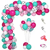 142Pcs Surprise Party Supplies Balloons Garland Arch Kit, Rose Red Pink White Polka Dots Sea Blue Confetti Balloons & 5Tools for Kids Baby Shower Surprise Birthday Party Theme Supplies Decorations