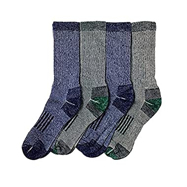 Kirkland Signature Men's Outdoor Trail Sock Merino Wool Blend Blue, Green FIT'S MEN'S size 8 to 12, M, 4 Pairs