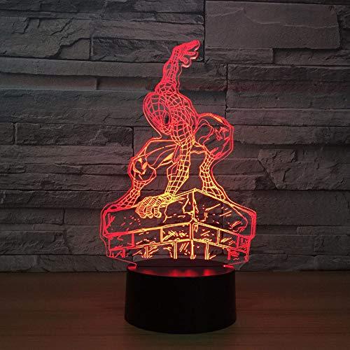 Kreative visuelle 3D Tischlampe Kinder Spielzeug Geschenk Acryl Spider Man Modellierung Nachtlicht LED USB Baby Bett Super Fixture Dekoration Licht Geschenk