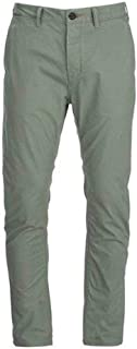 Men's Green Flat Front Relaxed Straight Twill Pants-Size 29x30