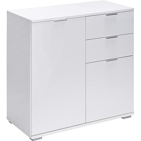 Commode Alba avec 2 Portes tiroirs Blanc Meuble de Rangement Buffet Type DB121