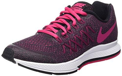 Nike Zoom Pegasus 32 (GS), Scarpe da Corsa Unisex-Kids, Nero Rosa Acceso Bianco, 35.5 EU