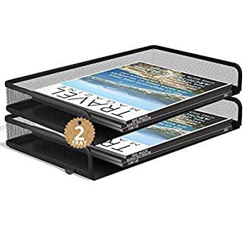 1InTheOffice Side Load Letter Tray Stackable Black Mesh Tray Legal Size  2 Pack