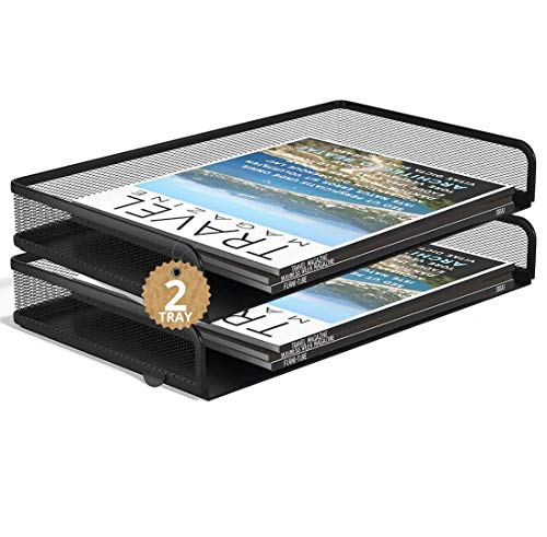 """1InTheOffice Side Load Letter Tray Stackable, Black Mesh Tray Legal Size, """"2 Pack"""""""