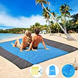 HEHUI Sand Free Beach Blanket, Extra Large Sand Free Beach Mat 82'x79',Portable Sand Proof Beach Blanket for Beach,Camping,Hiking and Picnic- Lightweight Quick Drying Heat Resistant (Gray-Blue-Gray)