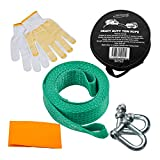Tech Traders  Recovery Straps, Towing belt,Towing Rope/Towing Road Recovery Strap for Cars Green Colour 8Tons 4Meter With 2 Shackles&2 Slip-Proof Gloves FREE Warning Sign+Carry Case