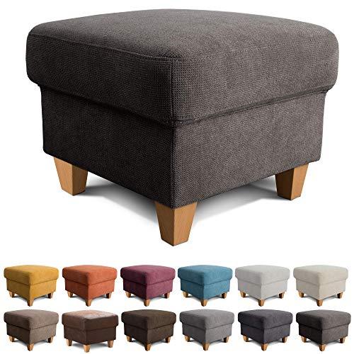 Cavadore Hocker Finja / Polsterhocker im Landhausstil / Fußbank für\'s Wohnzimmer passend zum Sessel Finja / 59 x 47 x 59 / Webstoff Dunkelgrau