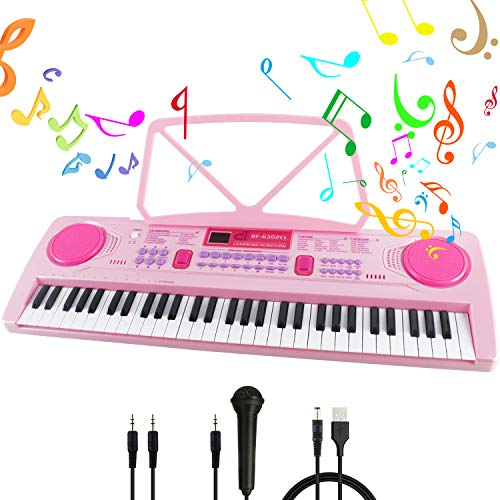 RenFox Piano toetsenbord 61 lichttoetsen elektronisch pianotoetsenbord voor kinderen en beginners draagbaar elektronisch toetsenbord met standaard & microfoon