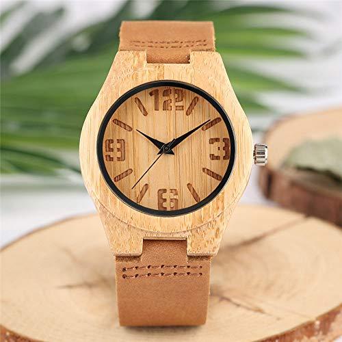 Leichte Bambus Holz Damenuhr Gravur Druck Ziffern Zifferblatt Analog Einfach Lässig Echt Leder Armbanduhren Holzgeschenke