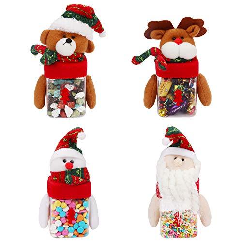 Jarras de Navidad para Chuches (x4) 250 ml Cajas de Regalo Navidad con Figuras Navidad Papá Noel Muñeco de Nieve Rodolfo y Oso de Peluche - Decoraciones de Navidad para Galletas, Golosinas, Chocolate