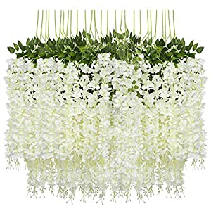 Gravo 12 Pack (43.2 FT) Artificial Wisteria Vine Fake Wisteria Hanging Garland Silk Long Hanging Bush Flowers String Home Party Wedding Decor (White)
