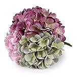 T4U Hortensia Artificielle Bouquet de Fausse Fleur - 3 Têtes, Fleurs Réalistes Interieur Tige Feuille Ajustable Touche Réelle Déco Mariage Restaurant Maison Anniversaire Chambre