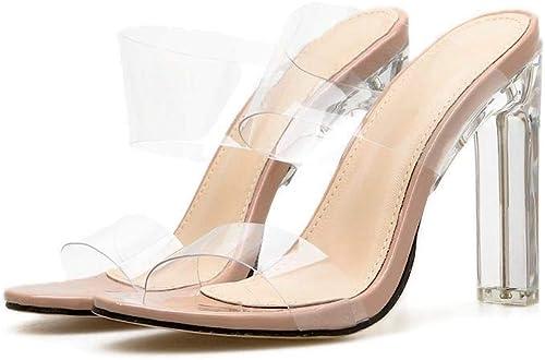 EGS-chaussures Transparent épais et Cristal Talon Haut Pantoufles Pantoufles Femmes Chaussures de Cricket (Couleur   Aprikosen, Taille   37)