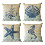 ULOVE LOVE YOURSELF Beach Pillow Covers 4 Pack Cotton Linen Nautical Throw Pillowcases Sea Theme Coastal Cushion Cover 18 x 18 inch (Sea-3)