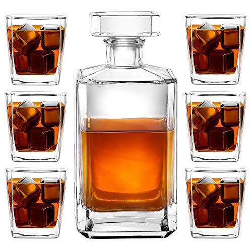 Murrano Whiskey Karaffe + 6er Whiskygläser Set - 700ml Whisky Dekanter - mit luftdichtem Verschluss - Geschenk für Damen und Herren