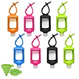 8 PCS Hand Sanitizer Holder, 60ml/2oz Travel Bottles with Keychain Silicone Sleeve, Empty Leakproof Squeeze Containers with Flip Cap, Portable Refillable Keychain Bottles for Sanitizer, Toiletries