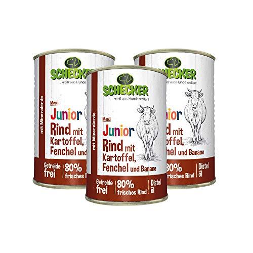 Schecker 3 x 410g Hundemenü Junior mit 80% Rind mit Kartoffel Fenchel und Banane Spezielle Kost für Welpen in der Wachstumsphase