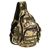 Protector Plus Tactical Military Sling Chest Daypack Crossbody MOLLE Laptop Backpack Large Shoulder Duffel Bags Gear Duty Pack for Outdoor Hunting (CP Camouflage)