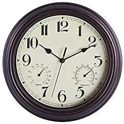 Foxtop Retro Silent Non-Ticking Wall Clock with Thermometer and Hygrometer Combo - Battery Operated Quality Quartz Round Indoor Clock for Bathrooom Home Decor 12 Inch (Bronze)