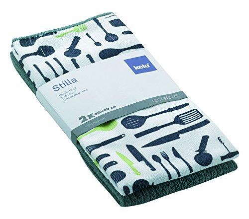kela Torchons de Cuisine en Microfibre Stilla 60x40cm 2 pièces en Polyester Gris, 20x10x5 cm